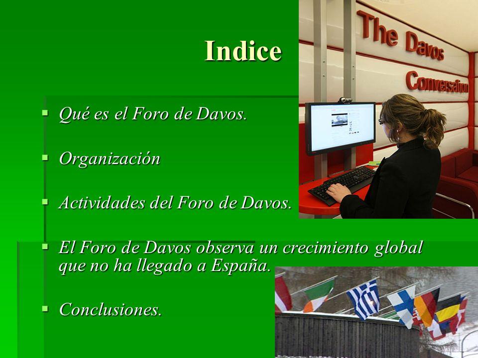 Indice Qué es el Foro de Davos. Organización