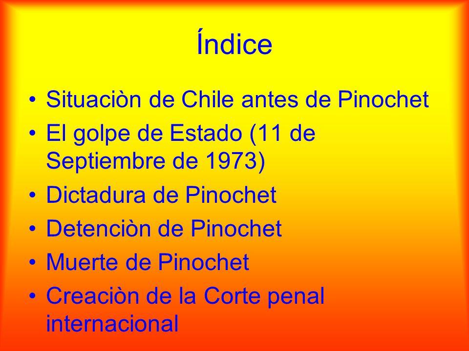 Índice Situaciòn de Chile antes de Pinochet