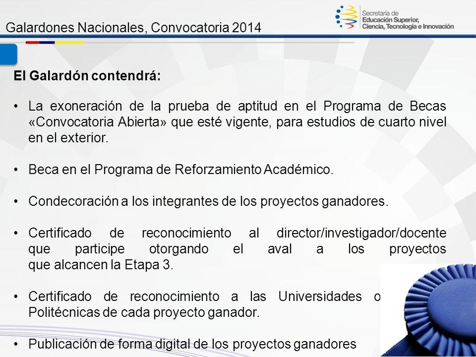 Galardón Galardones Nacionales, Convocatoria 2014