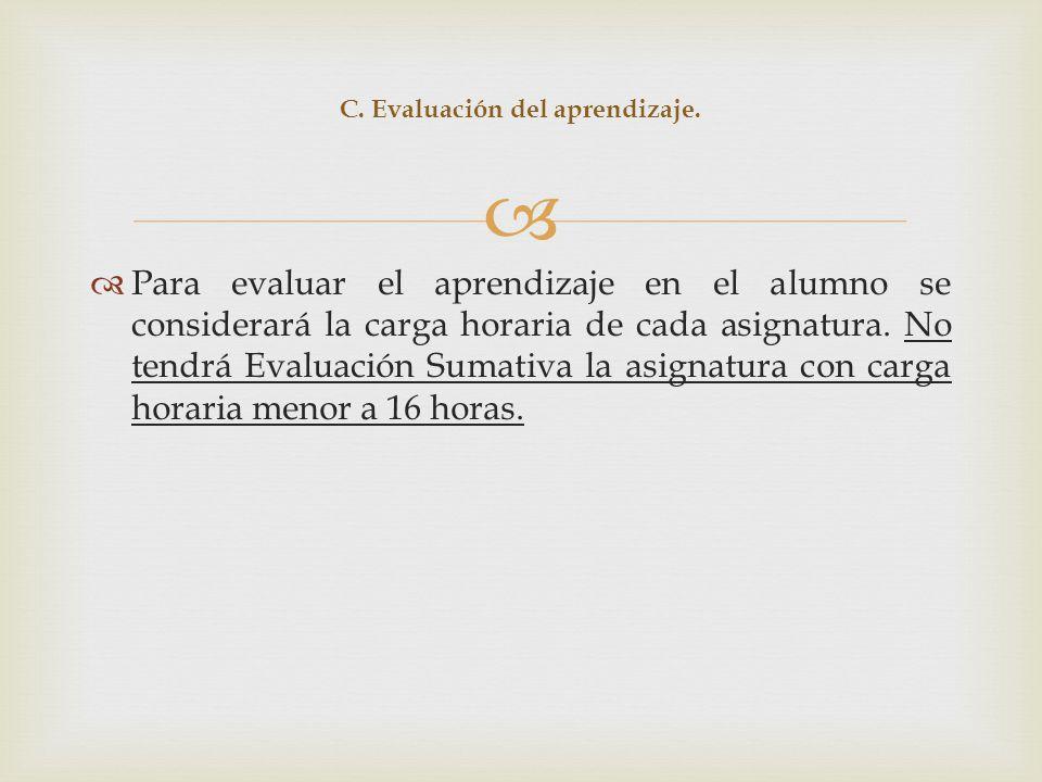 C. Evaluación del aprendizaje.