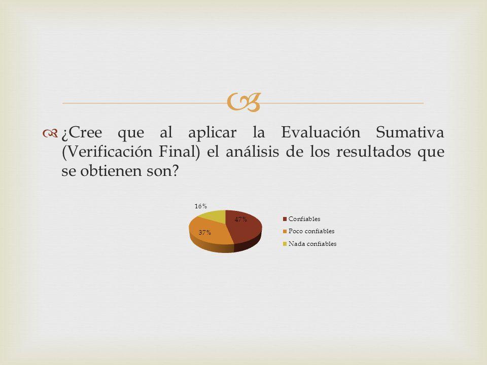 ¿Cree que al aplicar la Evaluación Sumativa (Verificación Final) el análisis de los resultados que se obtienen son