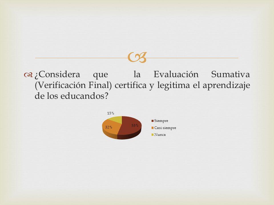 ¿Considera que la Evaluación Sumativa (Verificación Final) certifica y legitima el aprendizaje de los educandos