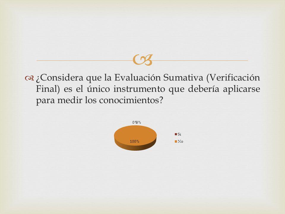 ¿Considera que la Evaluación Sumativa (Verificación Final) es el único instrumento que debería aplicarse para medir los conocimientos