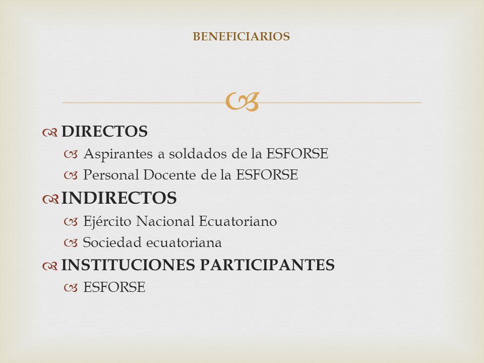 INDIRECTOS DIRECTOS INSTITUCIONES PARTICIPANTES