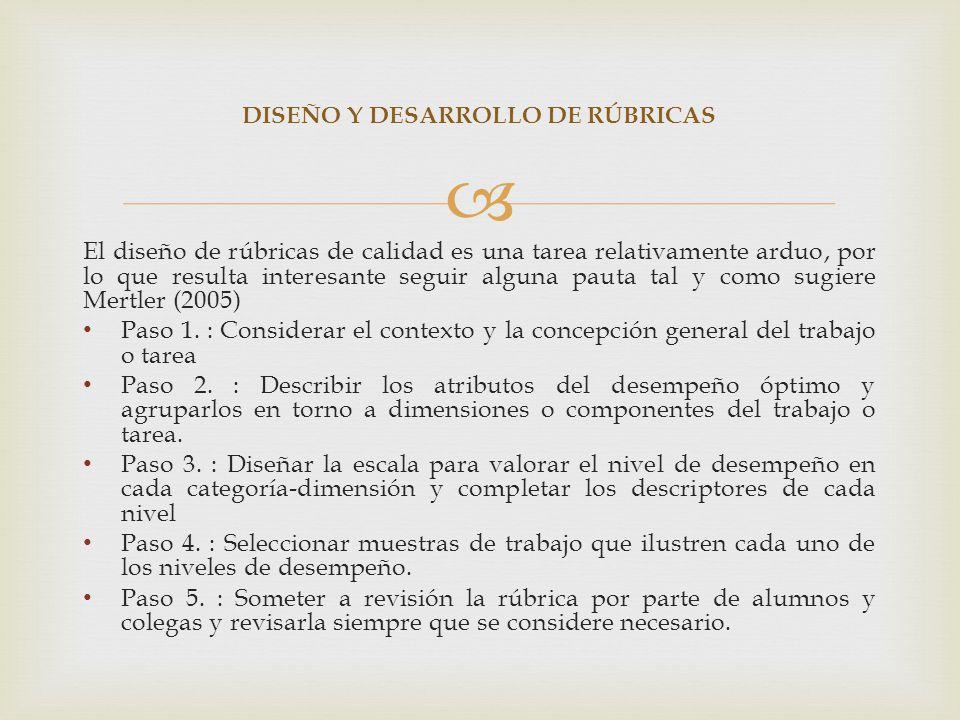 DISEÑO Y DESARROLLO DE RÚBRICAS