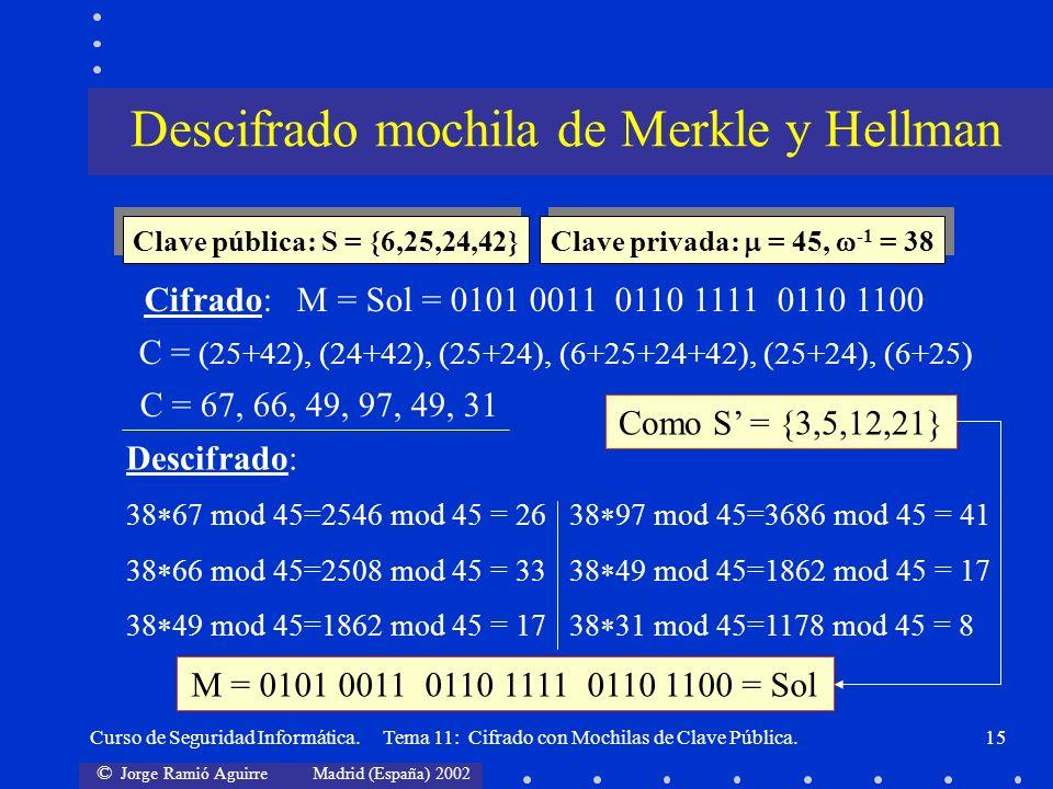 Descifrado mochila de Merkle y Hellman