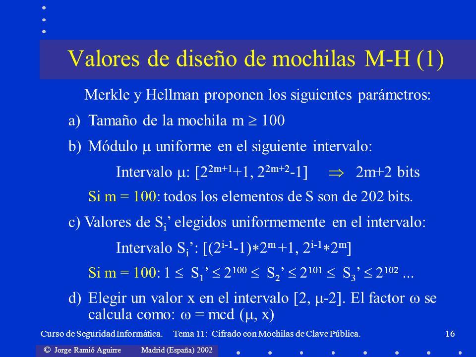 Valores de diseño de mochilas M-H (1)