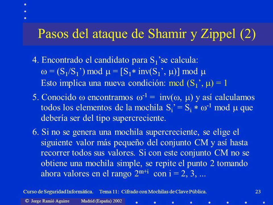Pasos del ataque de Shamir y Zippel (2)