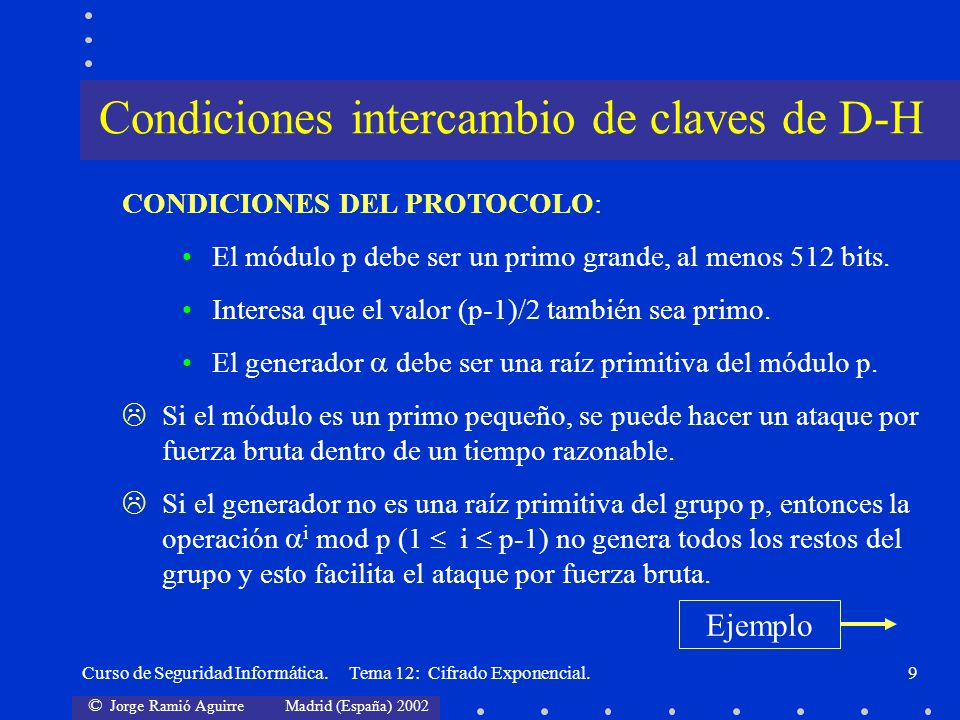 Condiciones intercambio de claves de D-H