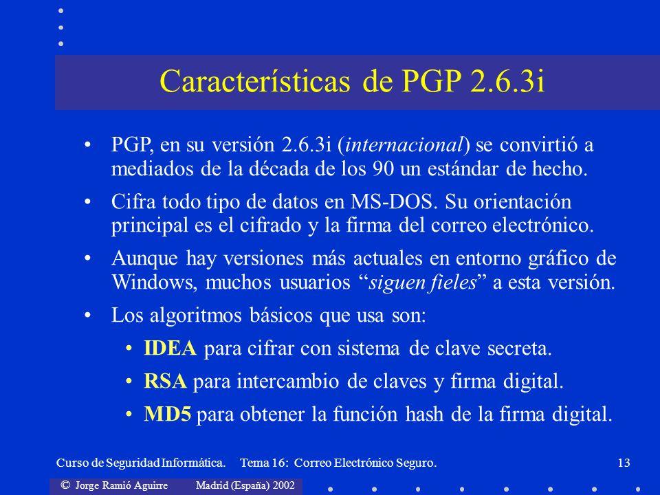 Características de PGP 2.6.3i
