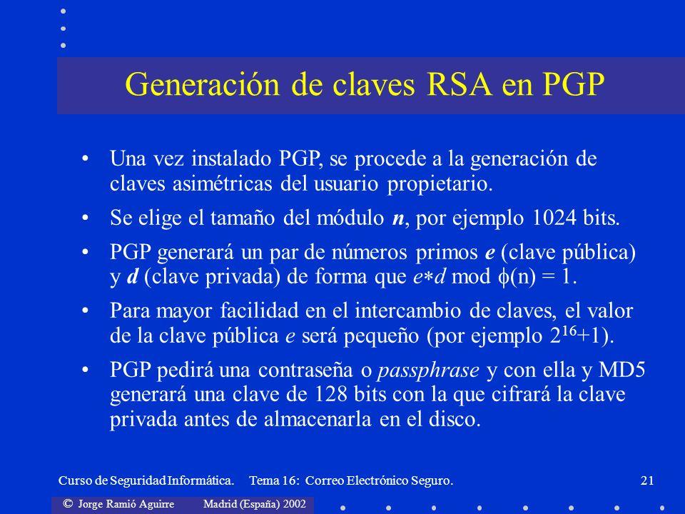 Generación de claves RSA en PGP