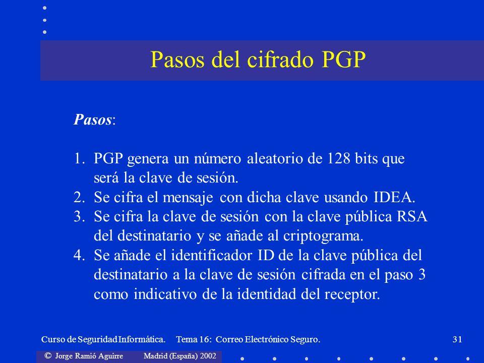 Pasos del cifrado PGP Pasos: