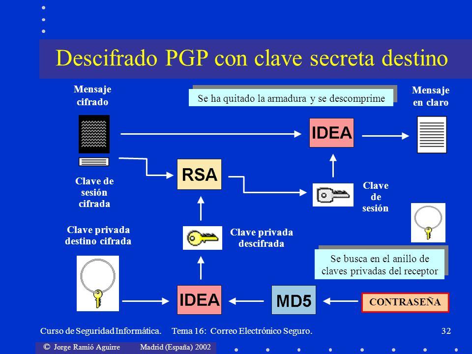 Descifrado PGP con clave secreta destino