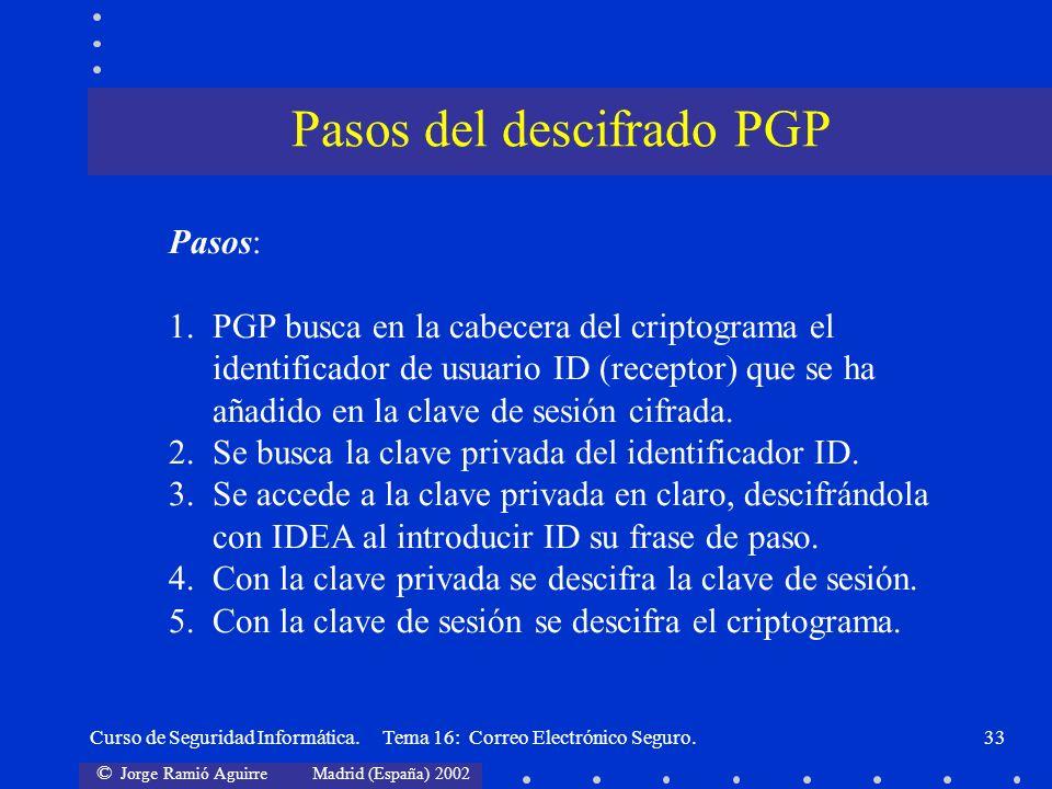 Pasos del descifrado PGP
