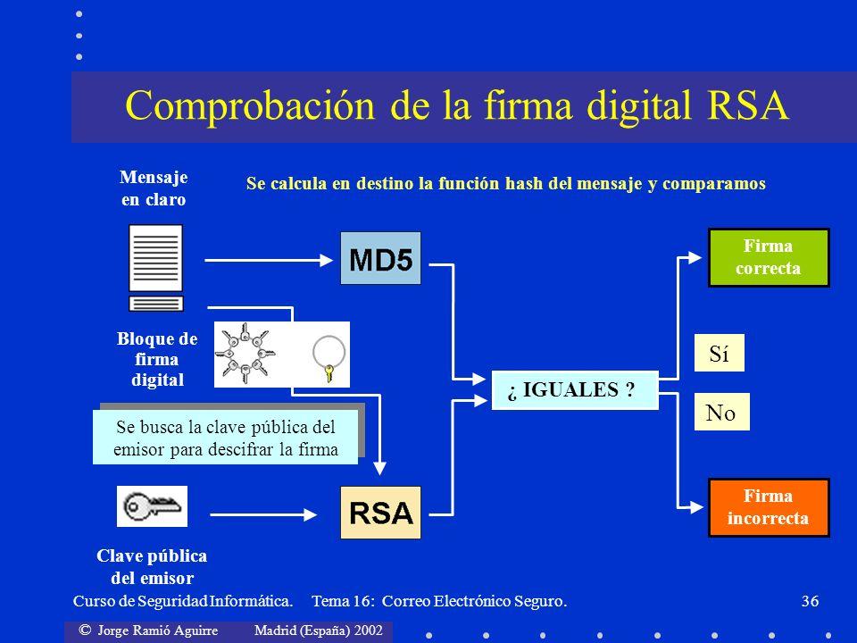 Comprobación de la firma digital RSA