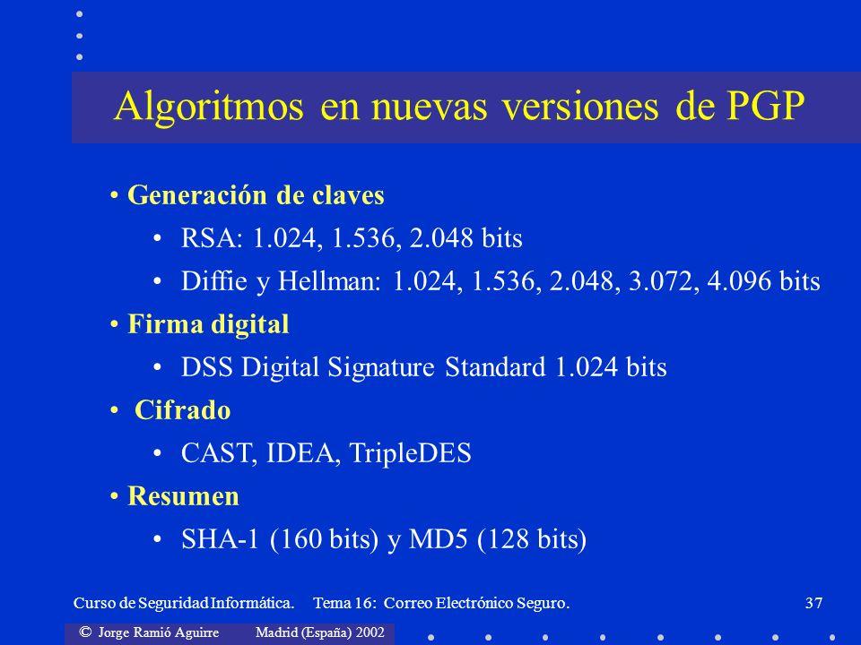 Algoritmos en nuevas versiones de PGP
