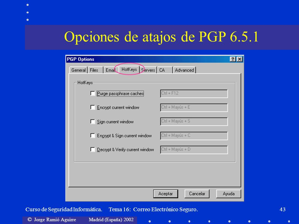 Opciones de atajos de PGP 6.5.1