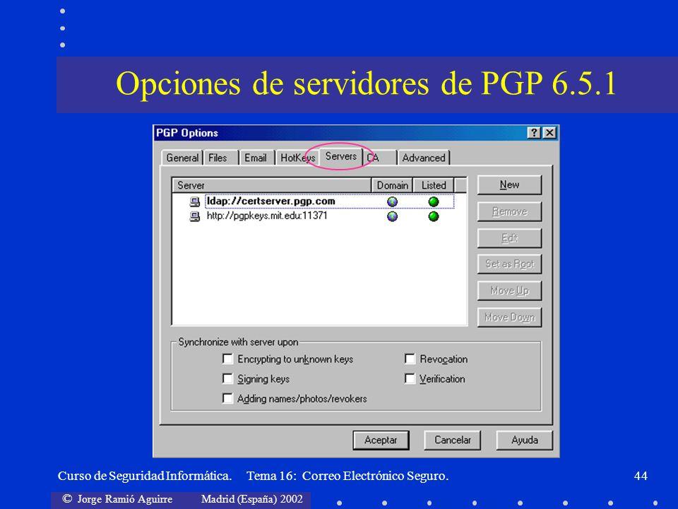 Opciones de servidores de PGP 6.5.1