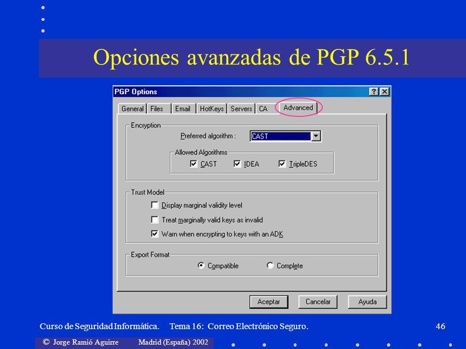 Opciones avanzadas de PGP 6.5.1