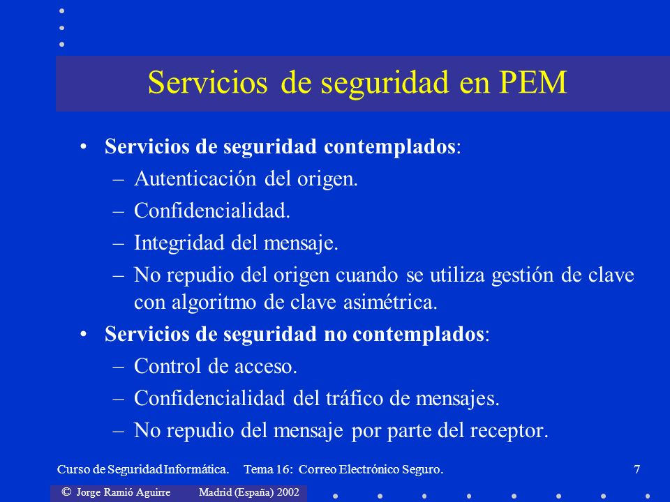 Servicios de seguridad en PEM