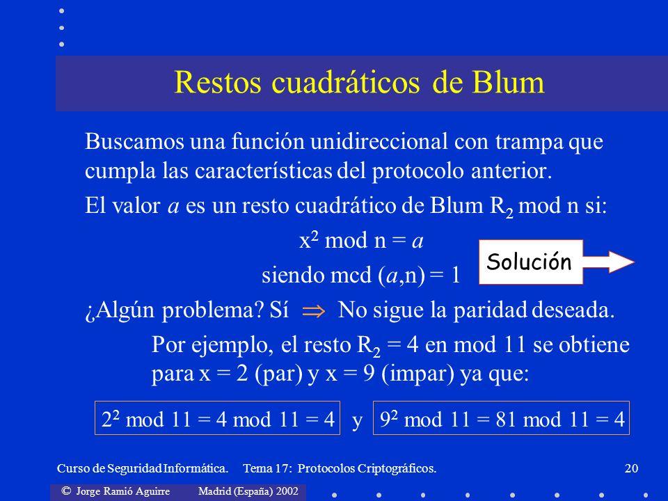 Restos cuadráticos de Blum