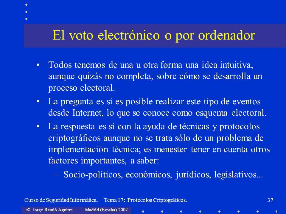 El voto electrónico o por ordenador