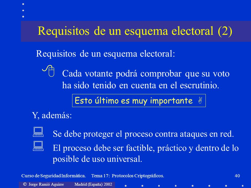 Requisitos de un esquema electoral (2)