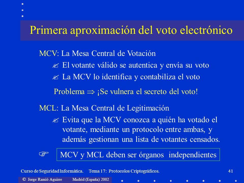 Primera aproximación del voto electrónico