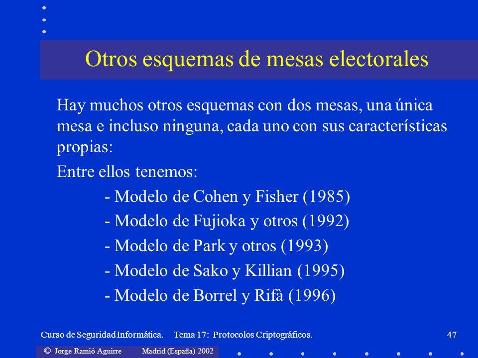 Otros esquemas de mesas electorales