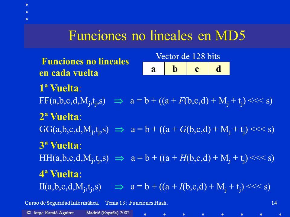 Funciones no lineales en MD5
