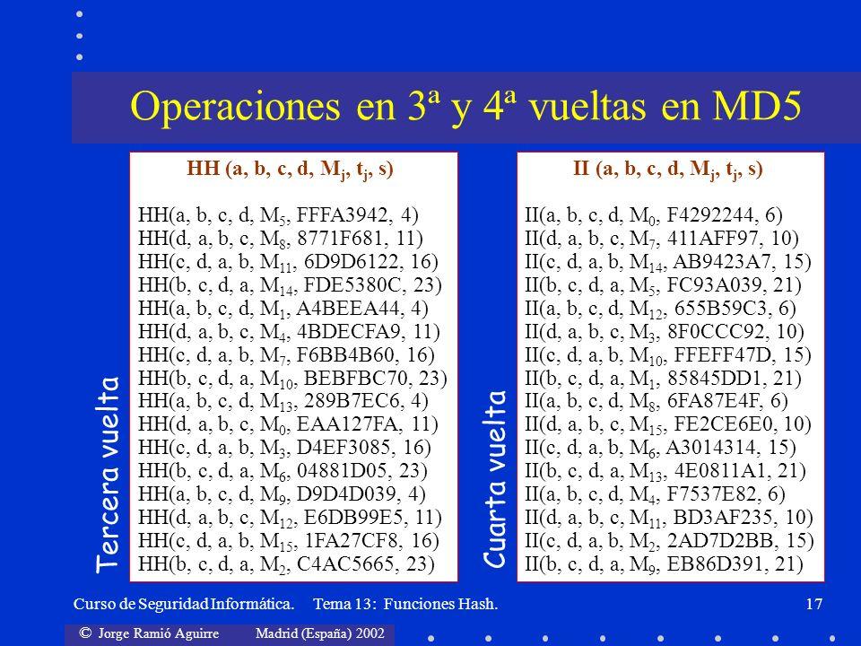 Operaciones en 3ª y 4ª vueltas en MD5