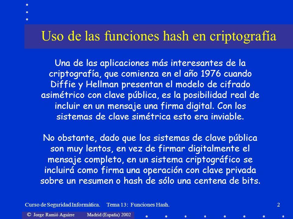 Uso de las funciones hash en criptografía