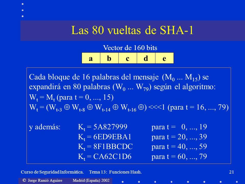 Las 80 vueltas de SHA-1 a b c d e