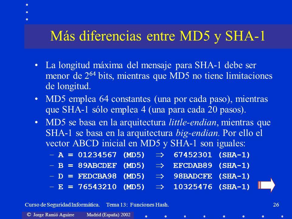 Más diferencias entre MD5 y SHA-1