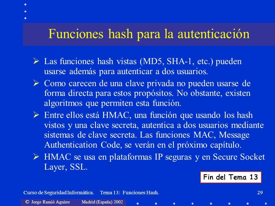 Funciones hash para la autenticación