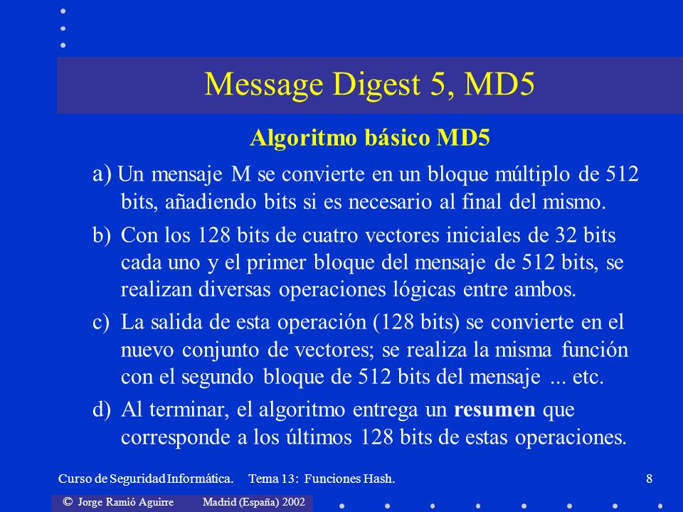 Message Digest 5, MD5 Algoritmo básico MD5