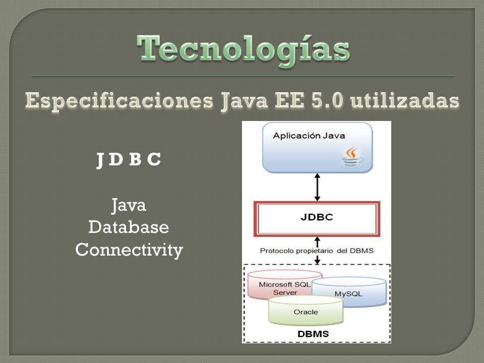 Tecnologías Especificaciones Java EE 5.0 utilizadas