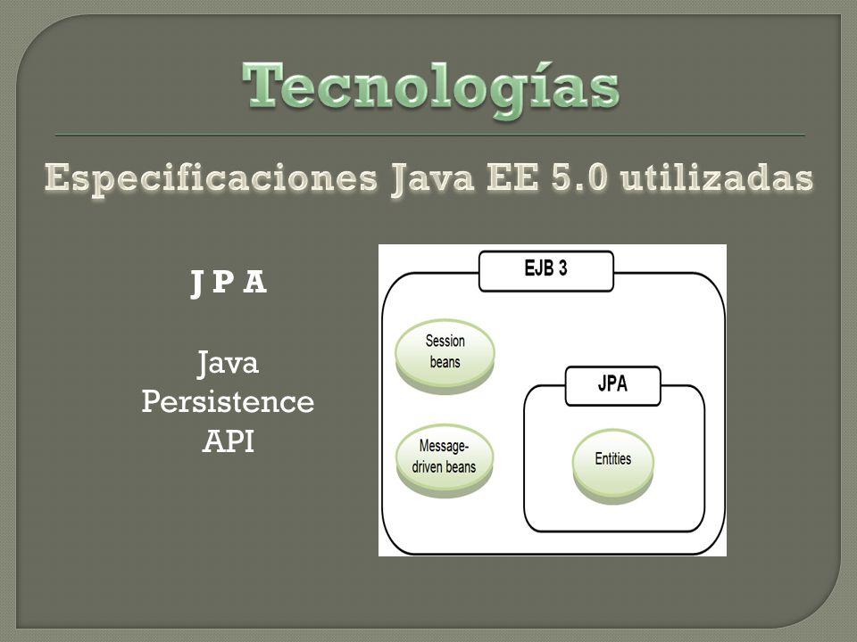 Especificaciones Java EE 5.0 utilizadas J P A Java Persistence API