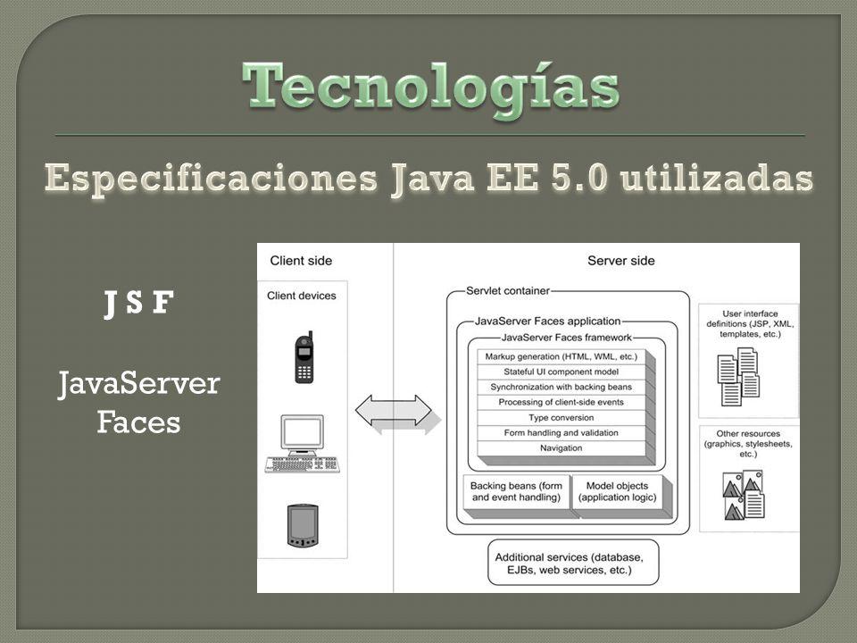 Especificaciones Java EE 5.0 utilizadas