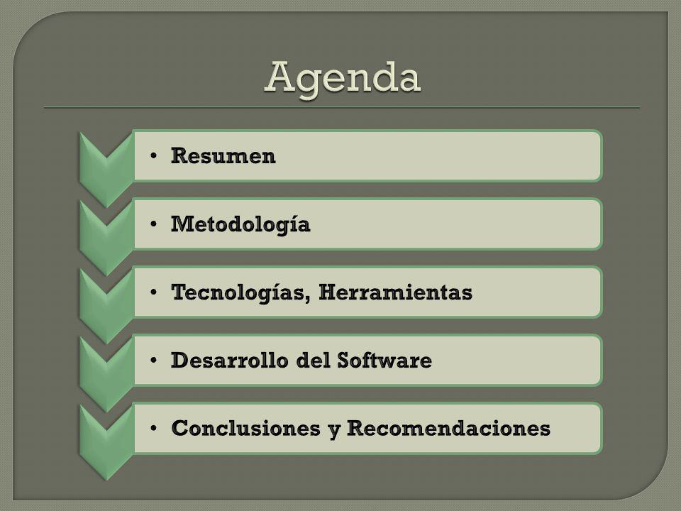 Agenda Resumen Metodología Tecnologías, Herramientas