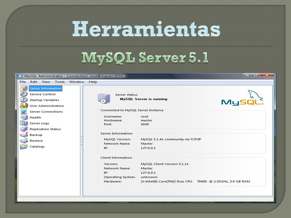 Herramientas MySQL Server 5.1