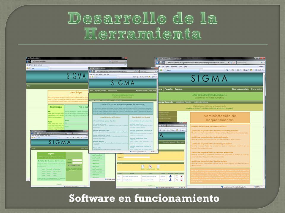 Desarrollo de la Herramienta Software en funcionamiento
