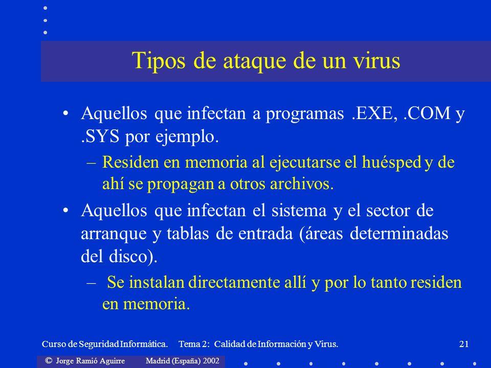 Tipos de ataque de un virus