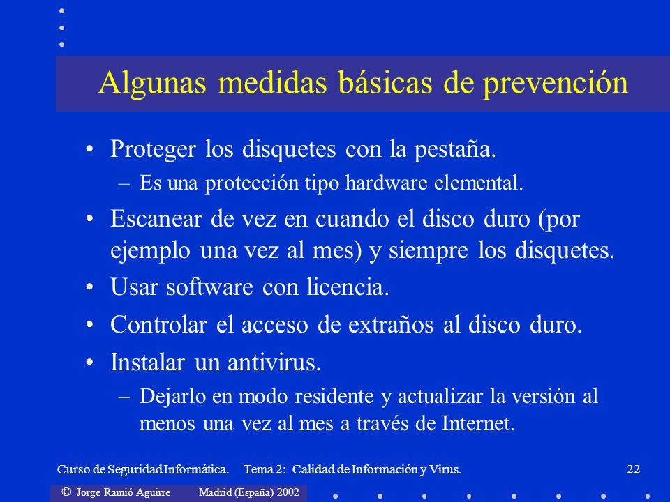 Algunas medidas básicas de prevención