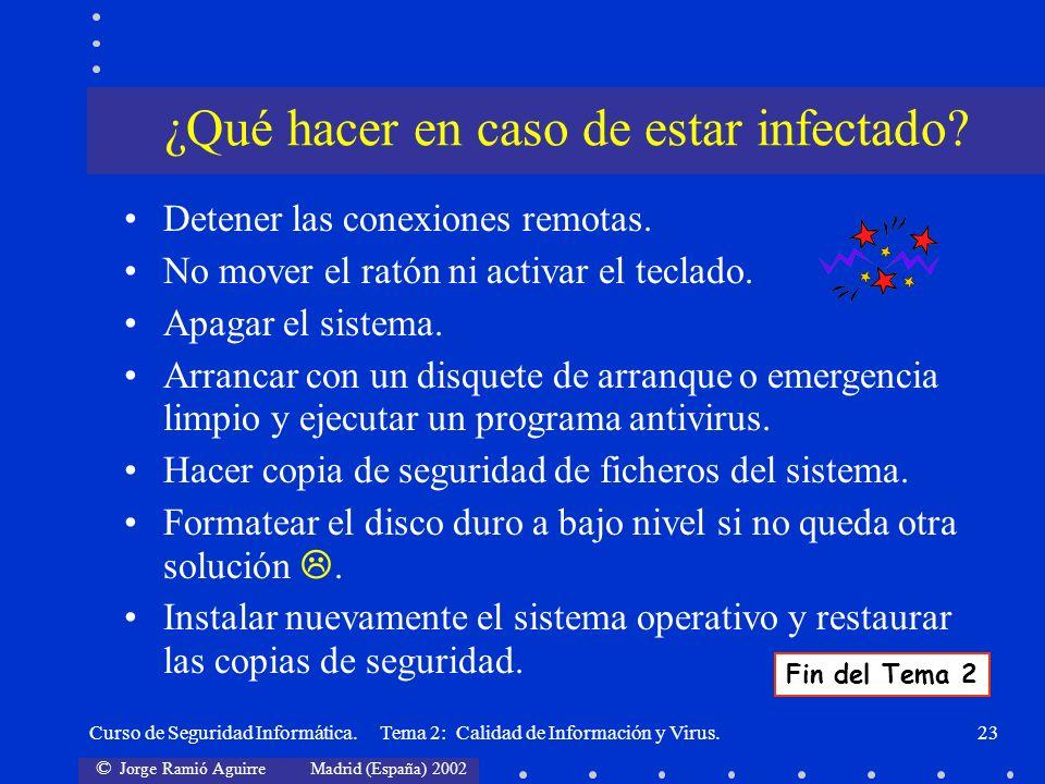 ¿Qué hacer en caso de estar infectado