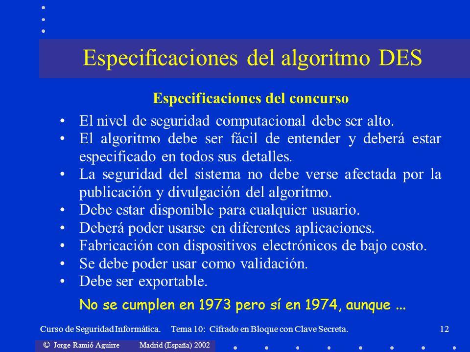 Especificaciones del algoritmo DES
