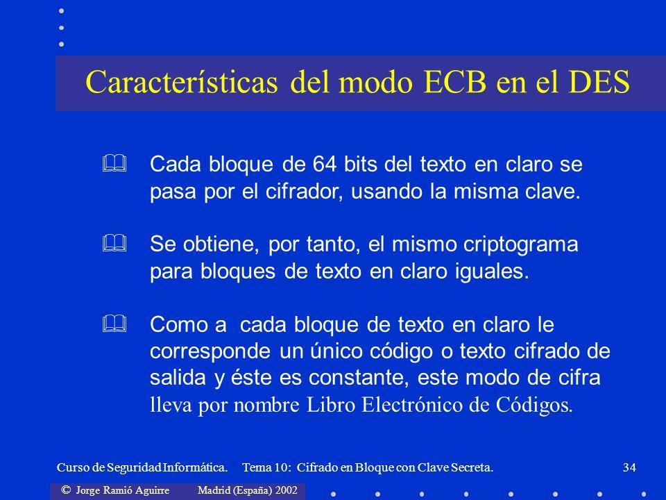 Características del modo ECB en el DES