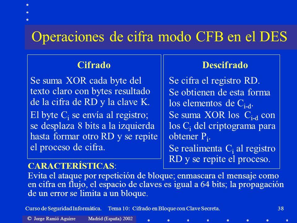 Operaciones de cifra modo CFB en el DES