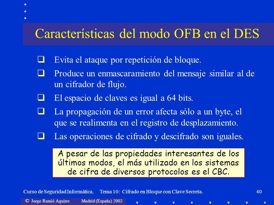 Características del modo OFB en el DES