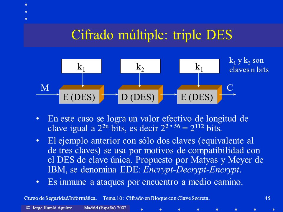 Cifrado múltiple: triple DES